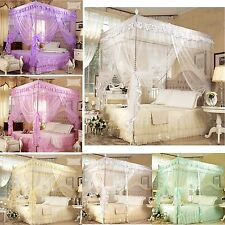Lace Flower 4 Corners High QC Post Bed Canopy Mosquito Net All Sizes 4 Colors