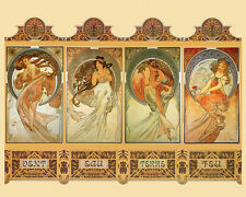 Ladies WIND WATER EARTH FIRE By Alphonse Mucha 16X20 Vintage Poster FREE S/H