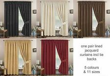 Pair Fully Lined Jacquard Floral Curtains inc Tie Backs in 11 Sizes & 5 Colours