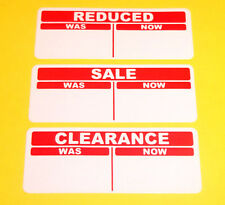 SALE REDUCED CLEARANCE Price Point Was - Now Stickers, Sticky Labels, Swing Tags