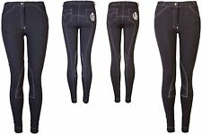 Ladies Knitted Denim Jodhpur Riding Trouser Jodpur Jeggings Stretchy Sizes 6-18