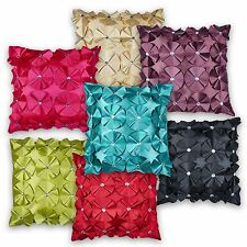 Ruffled Rosette Diamante Effect Cushion Covers or Filled - 45.7cm / 45cm