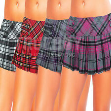 Womens Tartan Mini Skirt Ladies Pleated School Girl Fancy Dress Pub Golf Costume