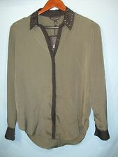 NWT Rock & Republic Women's Olive Button Front Shirt with Stud Accented Collar