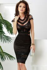 Fashion Floral Lace Sexy Sheer Mesh Banded Waist Package Hip Women Midi Dress