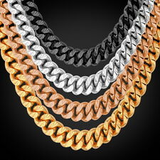 18K Rose Gold Plated Curb Chain Necklaces 22'' 26'' Platinum Plated Men Jewelry