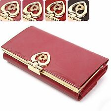Women Trifold Long Wallet Purse Genuine Leather Clutch Bag Heart Button Lady New