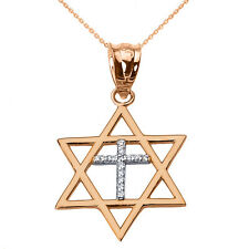 Solid Rose Gold Jewish Israel Star of David with Diamond Cross Pendant Necklace