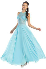 Prom Long Halter Rhinstones Pleated Chiffon Formal Evening Dress Hand Beaded
