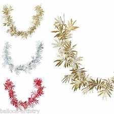 1.8m Deluxe Christmas Elegant Glitter Sparkle Leaf Garland Decoration Listing