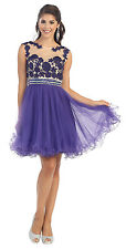 New Homecoming Prom Formal Cocktail Mini Lace Mesh Skirt Short Dress Bohemian
