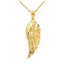 10k Yellow Gold ANGEL WING Pendant Necklace Size (M) Medium