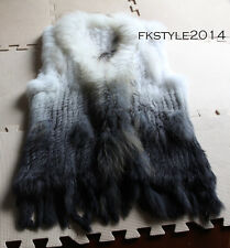 Gradien Color Women Knit Real Rabbit Fur Raccoon Fur Collar Vest Gilet Fur Coat