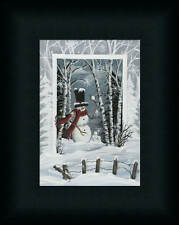 Snowball Fight Michele Musser 7x5 Snowman Winter Scene Framed Art Print Picture