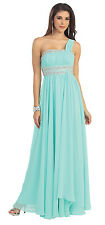 Bridesmaids One Shoulder Pleated Chiffon Formal Prom Plus Size Long Dress
