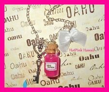Love Potion Charm Bottle Necklaces Love Themed Pink Red Bow Heart Silver Plated