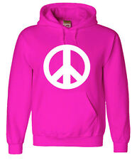 Pink hoodie sweatshirt peace sign men's size sweat-shirt peace symbol hoodie