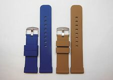 Replacement Silicon Watch Band Stainless Buckle Brown Blue | Fits 24mm Invicta