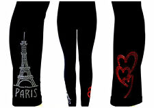 PLUS SIZE LEGGINGS CRYSTAL RHINESTONE EMBELLISHED PARIS EIFFEL TOWER RED HEARTS