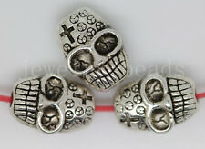 New 10/40/200pcs Antique Silver two-sided Skull Beads Charms Spacer Beads 10x7mm
