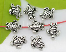 New 15/60/300pcs Antique Silver 3D Tortoise Jewelry Charms Spacer Beads 9x7mm