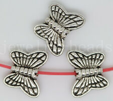 New 15/60/300pcs Antique Silver two-sided Butterfly Charms Spacer Beads 11x9mm