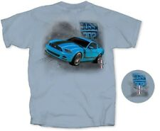 Mustang BOSS 302 - Grabber Blue T-Shirt. Cool Ford Shirt with FREE SHIPPING!