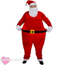 FATHER CHRISTMAS FAT SUIT COSTUME XMAS FUNNY HOOPED SANTA CLAUS FANCY DRESS