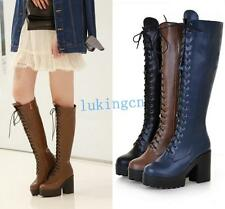 Womens Block Heeled Platform Knee High Punk Shoes Riding Combat Boots Shoes Size