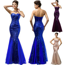 GK Strapless Mermaid Tulle Gown Evening Prom Party Dress Formal Long Sexy Sequin