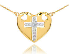 14K Two Tone Gold Heart Cross Diamond Pendant Necklace Chain
