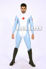Latex Suit Masculine Male Medic Rubber Latex Catsuit Nurse Uniform Red Cross