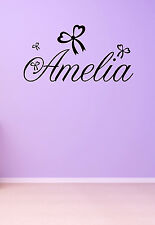 Girls Name Heart Bows Wall, Door Personalised Sticker Decal  Bedroom Art Decor