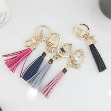 Genuine Leather Small Tassel Bag Purse Charm Accessory Key Ring Chain Holder New