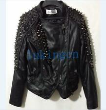Punk Womens Spike Studded PU Leather Biker Motorcycle Jacket Coat Outwear XS-4XL