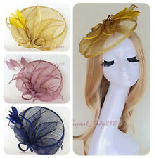 Handmade Women Sinamay Net Fascinator Party Races Wedding Feather Hair Clip Hats