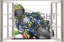Huge 3D Koolart Window view Yamaha V Rossi Moto Gp Wall Sticker Poster 3223