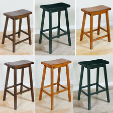 "Set of 2 Contemporary Oak Walnut Black Armless Wooden 24"" 29"" Bar Stool 2 Stools"