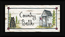 Country Bath Mary Ann June 9x18 Bear Outhouse Sign Framed Art Print Picture