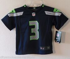 NWT Nike Russell Wilson Seattle Seahawks #3 Toddler Kids Jersey 2T-4T Navy
