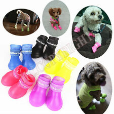 S M L Candy Color 4pcs Pet Dog Puppy Rain Boots Shoes Anti-slip Waterproof Paws