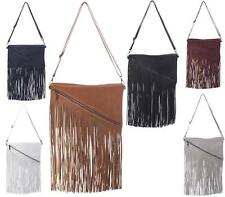 Ladies Slim Flat Clutch Bag Envelope Cowboy Tassel Fringe Faux Leather Handbag