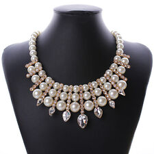 Vintage Pearl Crystal Charms Womens Retro Chain Pendant Statement Bib Necklace