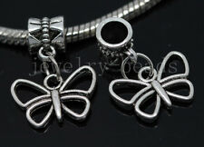New 6/30/100pcs Tibetan Silver butterfly Bulk Lots Dangle Charms Bracelet Craft