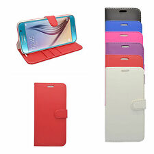 SAMSUNG GALAXY S6 WALLET BOOK FLIP CASE IN VARIOUS COLOURS FREE SCREEN PROTECTOR