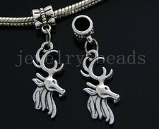 6/30/100pcs Tibetan Silver Deer head Bulk Lots Dangle Jewelry Charms Bracelet