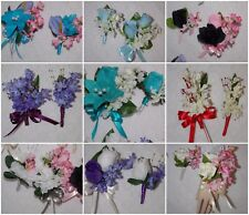 2PC Corsage Boutonniere Set Lilacs Many colors too Pick Wrist or Pin on Corsage