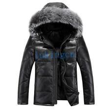 Hot Mens Sheepskin LEATHER Down Jacket Coat Winter Fox Fur Hooded Parka Overcoat