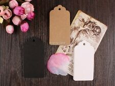 50/100pcs Brown Kraft Gift Tags Wedding Scallop Label Blank Luggage + Strings T1