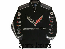 2017 Authentic Corvette Racing Embroidered Cotton Collage Jacket JH Design Black